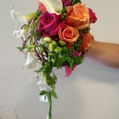 Bouquet mariage orange-rose