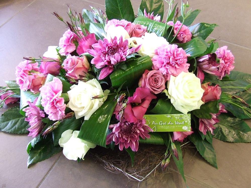 bouquet funéraille rose