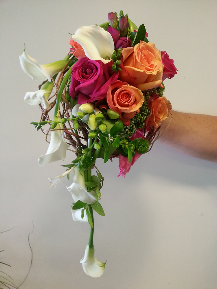 Bouquet mariage orange-rose